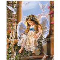 40X50cm Beautiful Girl Frameless Canvas Oil Painting Kids Room Wall Decor