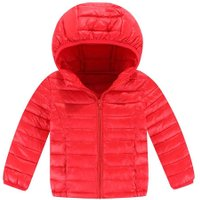 Basic Winter Hooded Jacket Kids Long Sleeve Down Coat Outerwear (Red 4-5Y)