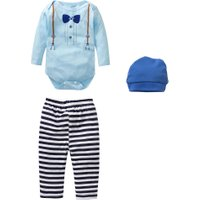New Arrival Fashion 3pcs Baby Toddler Kids Gentleman Long Sleeve T-shirt Rompers Tops+Stripe Pants+Hats Outfit Set For 0-18M